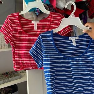 Red & Blue Striped Crop Top Set